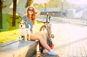 Woman and Dog with Bicycle